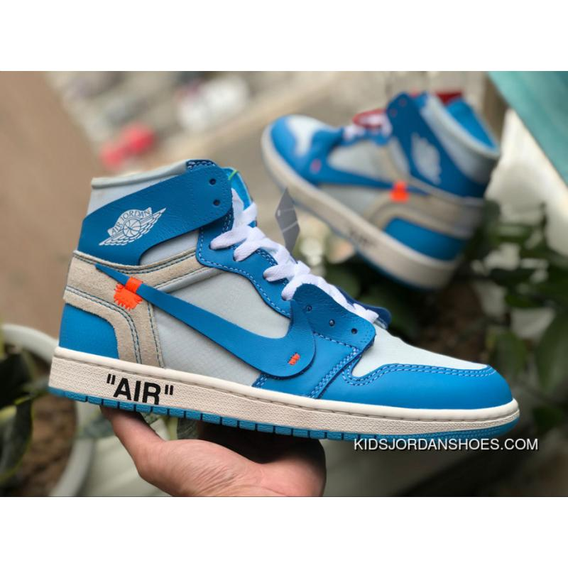 official photos 5fa2e b9b7e OG Version AJ1OW Collaboration Blue OFF-WHITE AIR JORDAN X 1 North Carolina  UNC AQ0818-148 Size Online