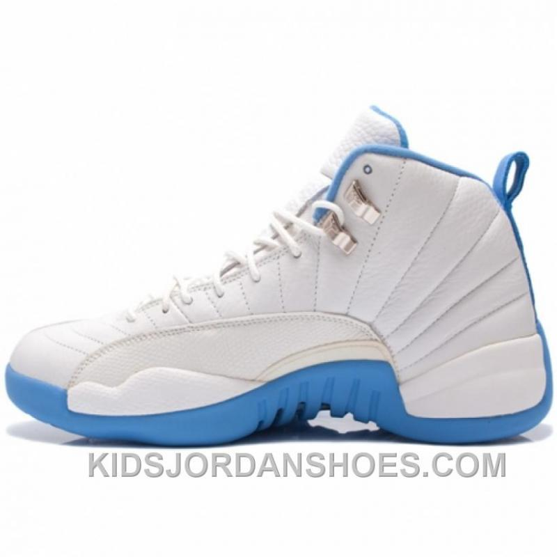 sneakers best sell factory price Air Jordan 12 Retro Melo White University Blue Metallic Silver 136001-142  M648Z