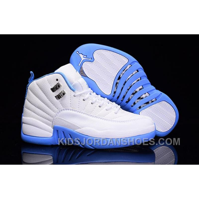 e572299533e68d Girls Air Jordan 12 GS Melo White University Blue On Sale WNZmQ ...