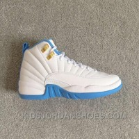 "Air Jordan 12 Retro GG (gs) MELO University Blue"" White/Metallic Gold-University Blue 510815-127 ThcyH"