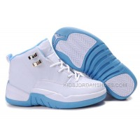 Kids Air Jordan 12 White Blue