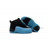 huge discount 083c5 ed9e2 2016 Discount Nike Air Jordan 12 XII Kids Basketball Shoes Black Blue Child  Sneakers