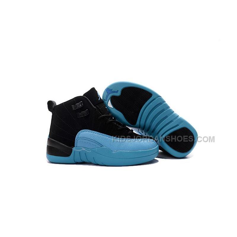 huge discount c16ef 9f331 2016 Discount Nike Air Jordan 12 XII Kids Basketball Shoes Black Blue Child  Sneakers