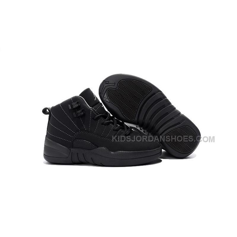 hot sale online 61c2b 37426 2016 Discount Nike Air Jordan 12 XII Kids Basketball Shoes All Black  Anti-Leather Child Sneakers