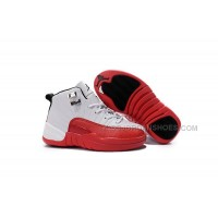 2016 Discount Nike Air Jordan 12 XII Kids Basketball Shoes White Red Child Sneakers