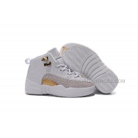 2016 Discount Nike Air Jordan 12 XII Kids Basketball Shoes White Golden Child Sneakers