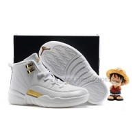Kids Air Jordan 12 All White Gold