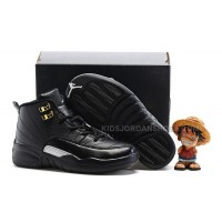 Kids Air Jordan 12 All Black Red Glod