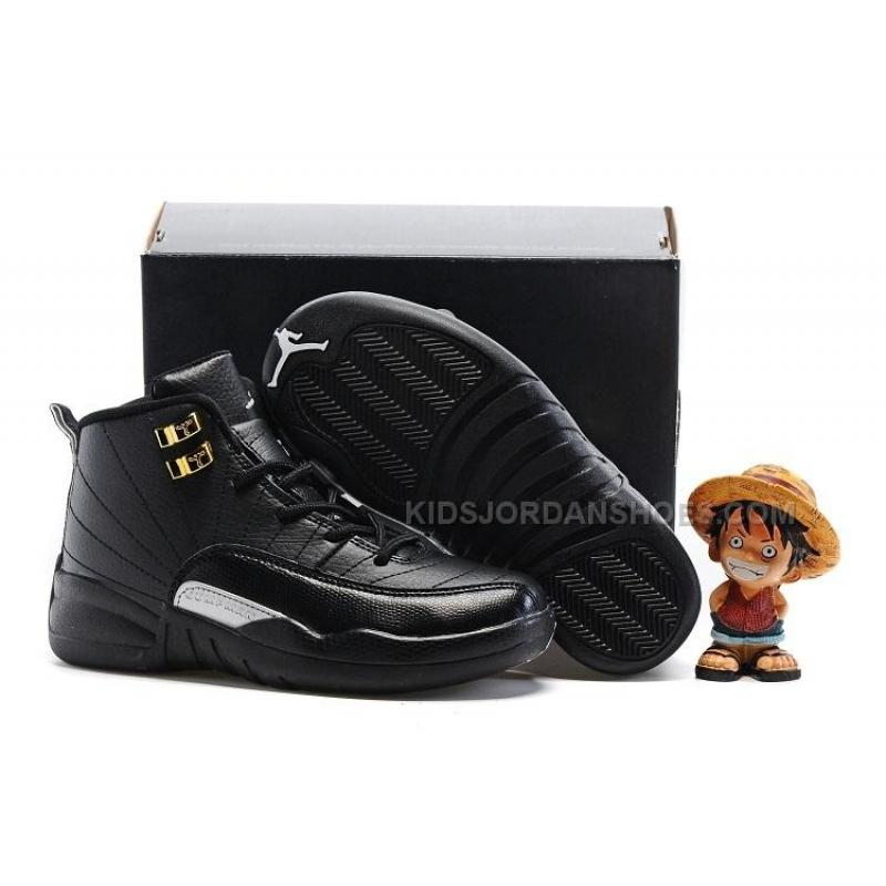 Kids Air Jordan 12 All Black Red Glod ...