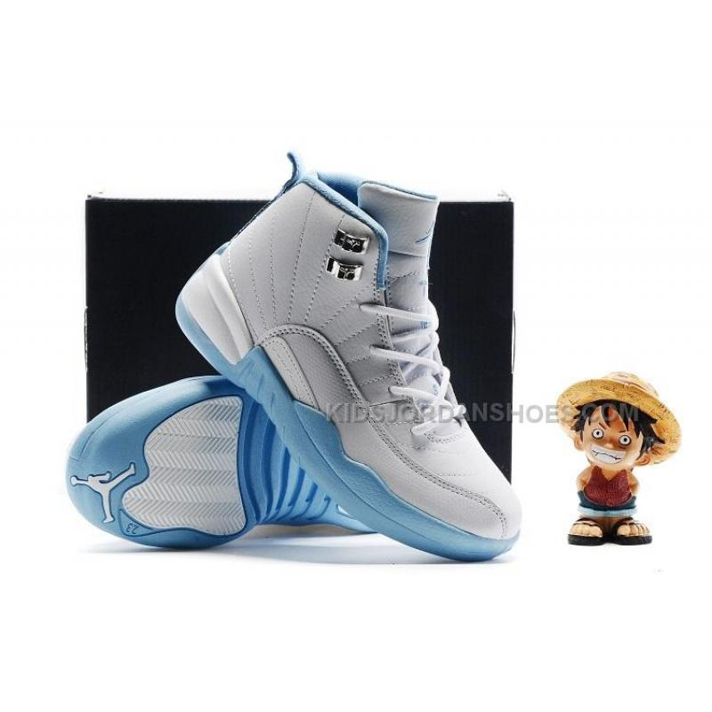 ee673fb47a9 Kids Air Jordan 12 White Light Blue Silvery .