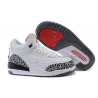 Kids Jordan 3 White Cement-White/Fire Red-Cement Grey-Black