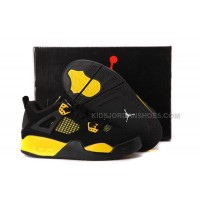 Nike Air Jordan 4 Kids Black Yellow