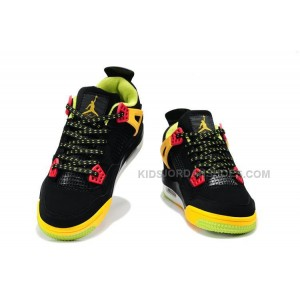 Nike Air Jordan 4 Kids Black Yellow Green