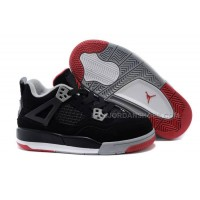 Kids Jordan 4 Bred basketball shoes Black/Cement Grey-Fire Red