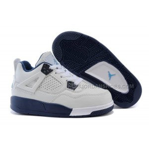 Kids Jordan 4 White Legend Blue-Midnight Navy