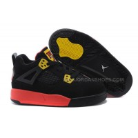 Kids Jordan 4 Basketball Shoes Black Yellow Red For Sale