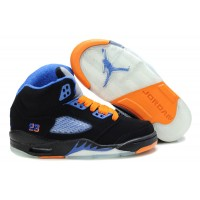 Kids Jordan 5 Retro Suede Black Blue Orange