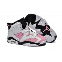 Kids Jordan 6 Retro White Black Pink
