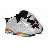 Kids Jordan 6 GS White Rainbow
