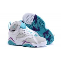 Nike Air Jordan 7 Retro Gray White Purple Basketball Sneakers Kids Shoess