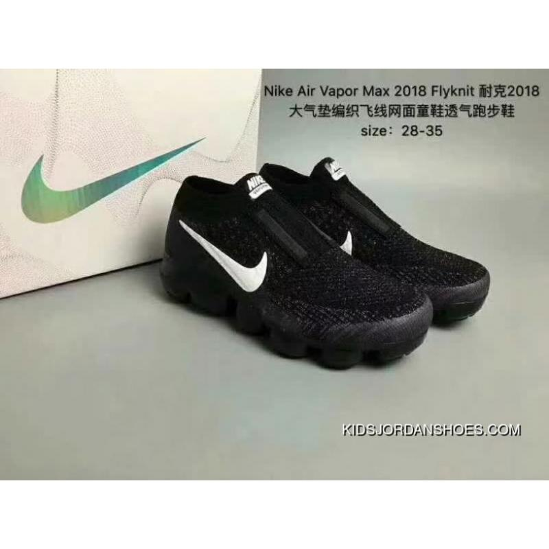 free shipping 57409 47494 Nike Air Vapormax 2018 FLYKNIT SE 2018 Zoom Air Woven FLYKNIT Mesh Kids  Shoes Breathable Running Shoes Black And White New Style