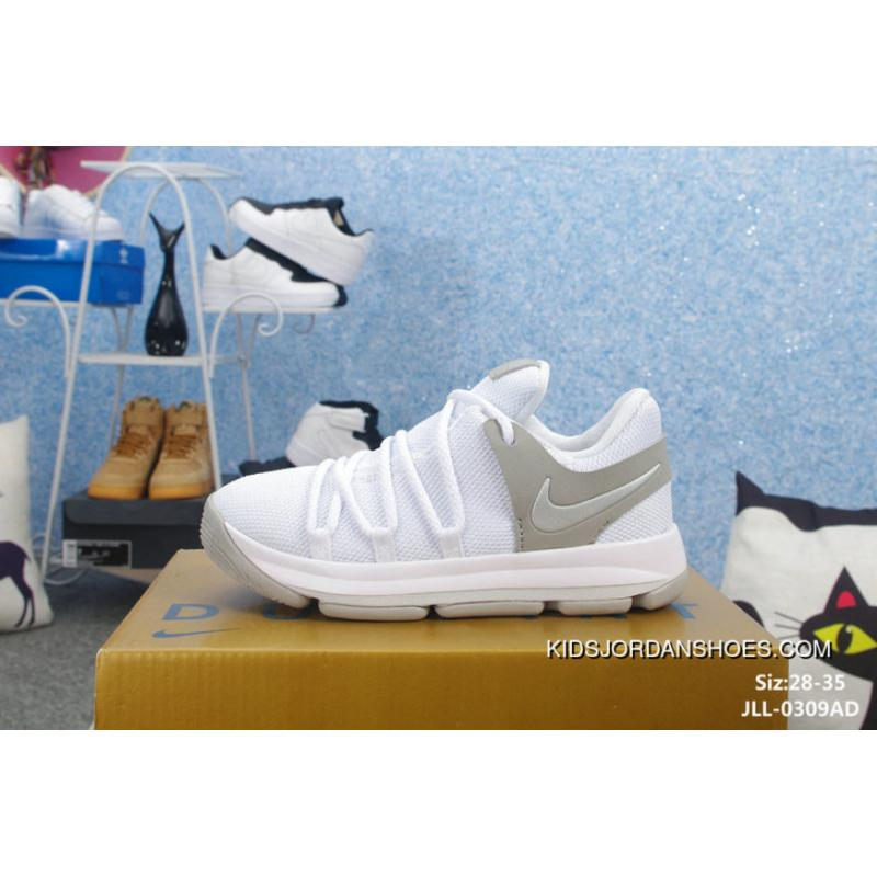 new style e5cbf 8826f Kids Nike KD 10 WHITE Outlet 10159673