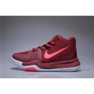 new arrival bc2ed eb424 Kids Nike Kyrie 3 Burgundy Red Copuon