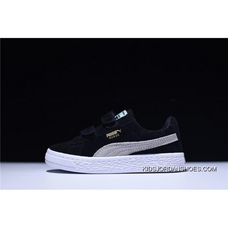 Puma Suede 2 Strap Kids Shoes Velcro Sport All-match Sneakers Suede Black  WHite 356274-01 New Year Deals