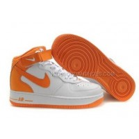Nike Air Force 1 Mid Orange White Sneakers