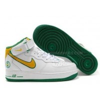Nike Air Force 1 Mid Green/White/Yellow Sports Shoes