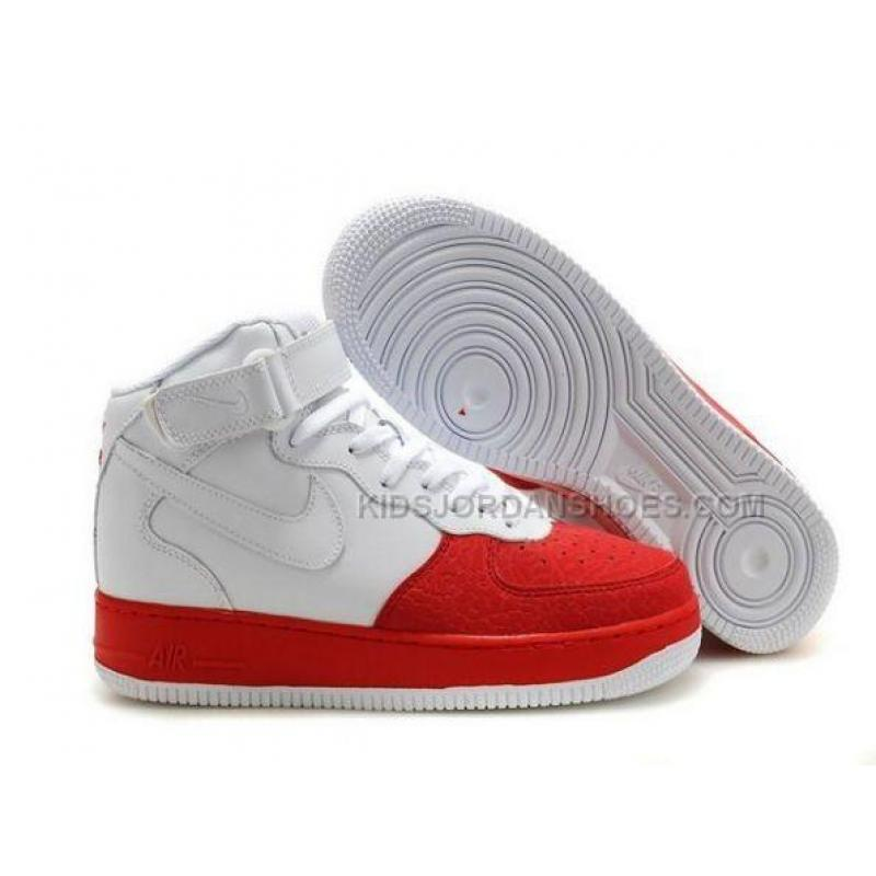 Mens Nike Air Force 1 Mid Red/White Tennis Shoes