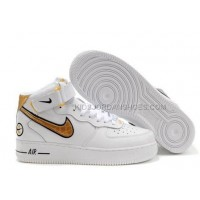 Mens Nike Air Force 1 Mid Black-Gold-White Sports Shoes