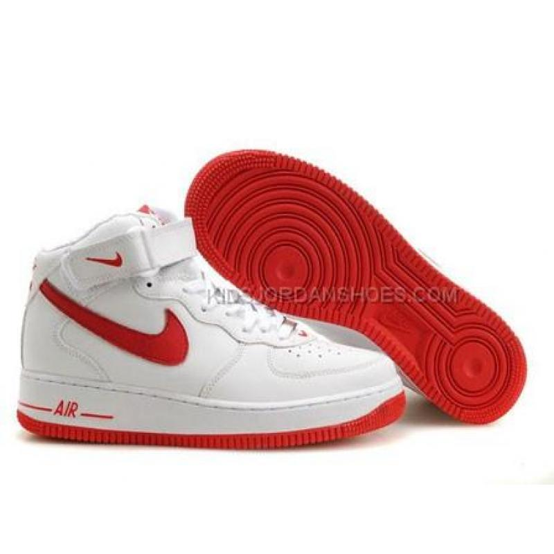 Mens Nike Air Force 1 Mid White/Red Tennis Shoes, Price: