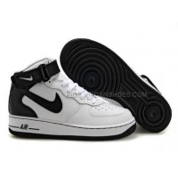 Mens Nike Air Force 1 Mid White/Black Sports Shoes