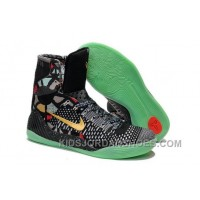 Buy Cheap Nike Kobe 9 2014 High Tops Black Gold Green Mens Shoes Discount 5xsQh4