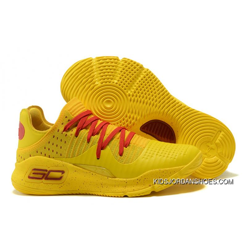 cheap for discount c2140 0eb6f 2017 Under Armour Curry 4 Low Bruce Lee Yellow Red Copuon
