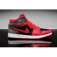 "Womens Nike Air Jordan Retro 1 ""Bred"" Red/Black-Grey Shoes on Sale"