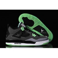 "Ladies Michael Jordan Retro 4 ""Green Glow"" GS DARK GREYGREEN GLOW CEMENT GREY BLACK 30019"