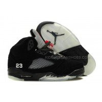 Women Michael Jordan Retro 5 Black/Grey Shoes 43929 Outlet