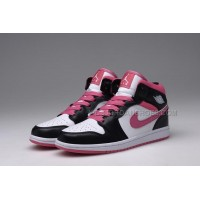 Female Nike Jordan 1 Retro GS Keep Moving Footwear - Black Pink White