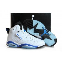 "Female Keep Moving Shoes Air Jordan VI 6 ""Sport Blue"" White and Black"