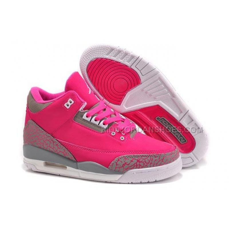 wholesale dealer 96f6e 651c9 2015 Retro Michael Jordan III GS Female Sneakers Pink/Grey Color