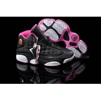 Ladies Jordan 13 Retro Black/Pink/White Shoes 88879