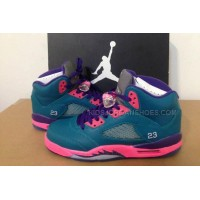 Womens Nike Air Jordan 5 South Coast Green/Pink/Purple Athletics