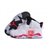 New Athletic Sneakers Jordan 6 White/Infrared - Black Leather Female Style 26821