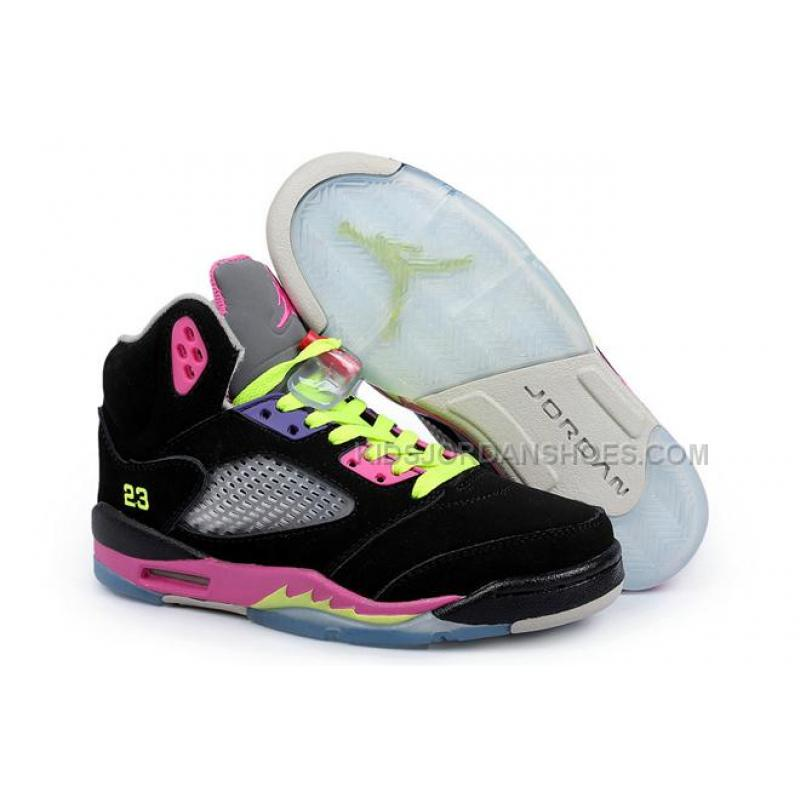 super popular f50a2 dc084 Nike Jordan Sneakers 5 Retro Black Pink Volt For Women 19982
