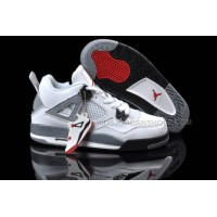 Ladies Air Jordan Shoes Retro 4 White Black and Grey Cement/Vars
