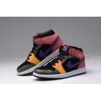 Jordan Brand Women Size Shoes AJ1 Retro Mid GS with Colorway Purple Pink Black and Yellow 15662