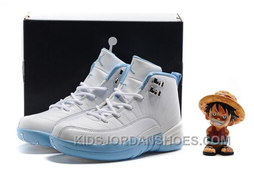 "eadf2517a15 Kids Air Jordan 12 ""Melo"" White/Metallic Gold-University Blue FdrHZ ..."