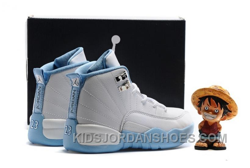 "online store bfe9e a1b3e Kids Air Jordan 12 ""Melo"" White Metallic Gold-University Blue FdrHZ"